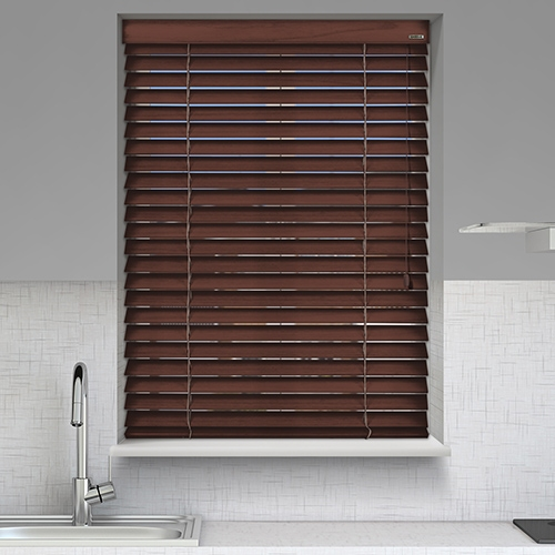 12v Battery Powered Heritage Pecan Electric Wooden Blinds