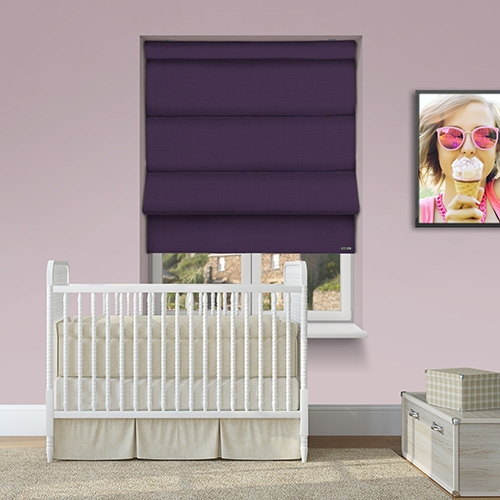 12v Battery Powered Turin Plum Electric Roman Blinds At