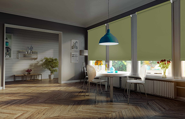 remotely controlled electric blinds creating shade and atmosphere